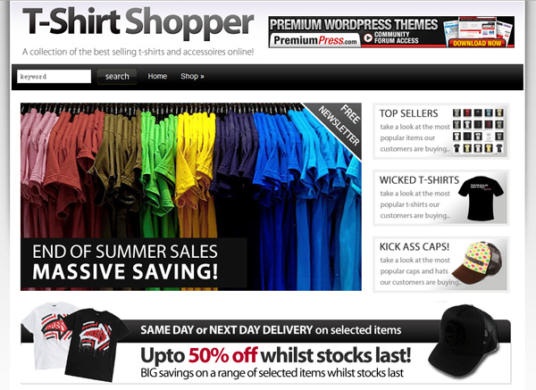 shirt shop theme wordpress shopping cart. Black Bedroom Furniture Sets. Home Design Ideas